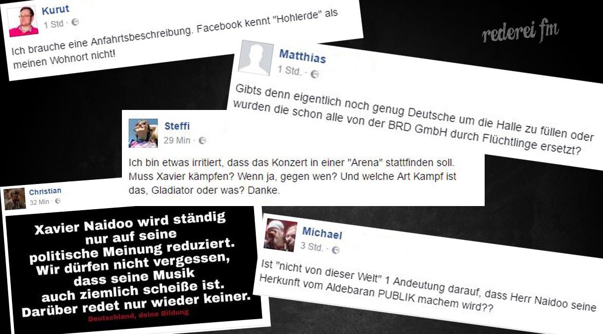 Xavier Naidoo Tour 2016 2017 Shitstorm Facebook Rederei fm Beefträger